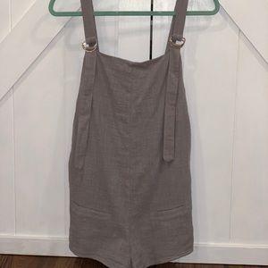 Linen romper overalls adjustable straps